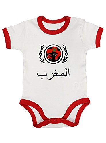 Shirt Happenz Marokko Weltmeisterschaft 2018#2 Premium Ringer Babybody Fan Trikot Fußball WM Nationalmannschaft Kurzarmbody, Farbe:Weiß Rot (White Red BZ19);Größe:12-18 Monate