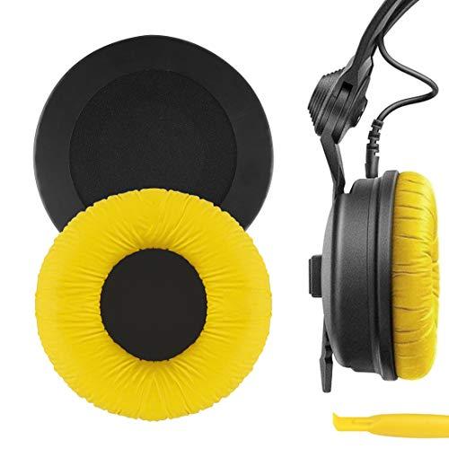 Geekria QuickFit Protein Leather Reemplazo Almohadillas para Sennheiser HD25, HD25-II, HD25SP, HD25SP-II, Limited 75th Anniversary Edition Almohadillas para auriculares, para los oídos (amarillo)