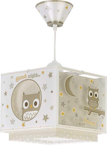 Dalber Lámpara Infantil de techo Good Night Búhos Beige animales, 60 W