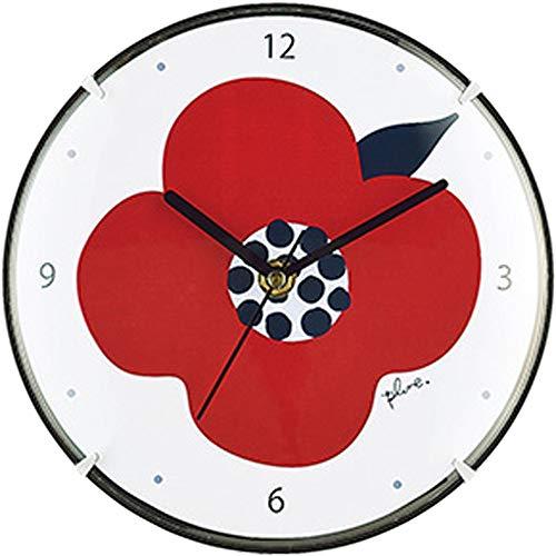 プルーン 掛け置き兼用時計 赤いお花 PL-303
