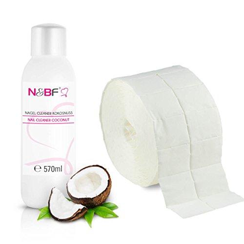 Cleaner per unghie al profumo di cocco 570 ml+rotolo di salviette pad da 1.000 pezzi-Pulitore Nail utilizzato per pulire e sgrassare in qualità da studio