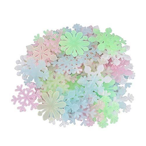 BANNAB 50 Pegatinas de Pared de Copo de Nieve Fluorescentes Que Brillan en la Oscuridad del Dormitorio de los niños Hermosos (Multicolor)