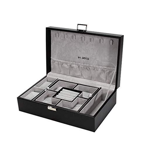 Jewelry Box 29.5 * 19.8 * 9cm Caja de Almacenamiento de joyería de Gran Capacidad de Gran Capacidad Caja de Pendiente de Collar Simple (Color: Azul) leilims (Color : Black)