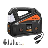TACKLIFE A6 PLUS Tire Inflator, Portable Air Compressor equipped with LCD Pressure Gauge up to 150 PSI, AC/DC car air pump powered by Home 110V and Car 12V with LED light