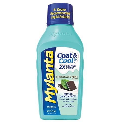 Mylanta Antacid & Gas Relief, Coat & Cool Formula, Chocolate Mint Flavor, 12 Fl. Oz, Chocolate Mint, 12 Fl Oz