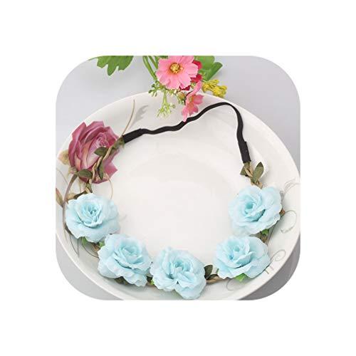 Girls Wedding Flower Wreath Headbands Peony Sakura Garland Elastic Rubber Hair Bands Accessories Delicate Boho Headwear,Color 18