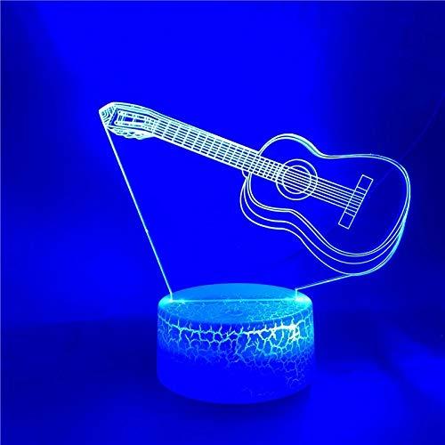 Guitarra dominante luz de noche creativa luz LED multicolor 6D decoración creativa lámpara de mesa pequeña acrílico luz de noche multicolor base agrietada