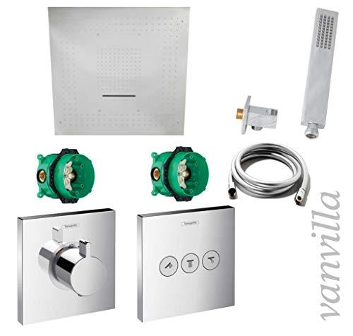 Vanvilla Hansgrohe ShowerSelect HG41 - Conjunto de ducha con grifo empotrado, termostato y cabezal de ducha con chorro, acabado pulido