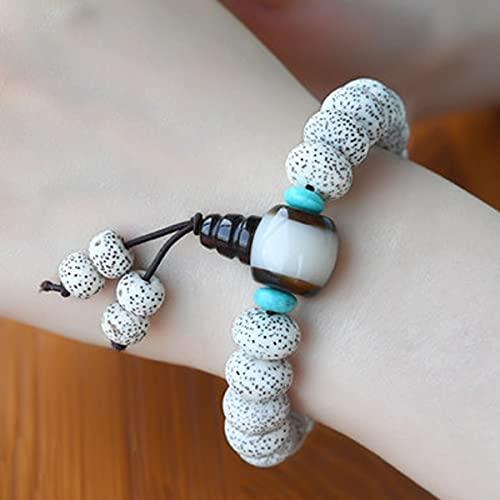 JKGHK Bodhi Cuentas elástica Cadena Shui 108 Natural Xingyue Bodhi Beads Pulsera Suéter de Alta Densidad Cadena de joyería de Estilo Chino Puede traer Suerte y Prosperidad,B