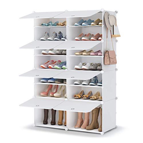 HOMIDEC Zapatero zapatero de 5 niveles, de plástico, organizador para armario, pasillo, dormitorio, entrada