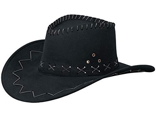 Alsino Cowboyhut Hut Faschingshut Cowboy Karneval Westernstyle Karnevalskostüm Faschingskostüm Herren Damen Kinder Leder Unisex OneSize (schwarz)