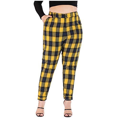 BurBurly 2019 Herfst Vrouwen Casual Plus Size Potlood Broek Plaid Gedrukte Voeten Broek Casual Broek L-4XL