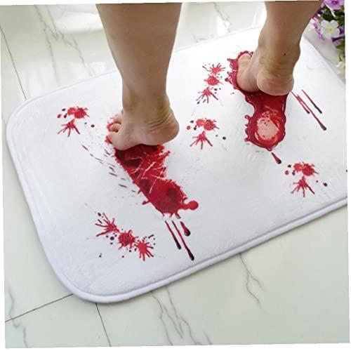 Ruluti Decoración Doormat Sangre Alfombra Baño Absorción Agua Absorción Antideslizante Terror Terror Terror Bloody Huella Alfombra