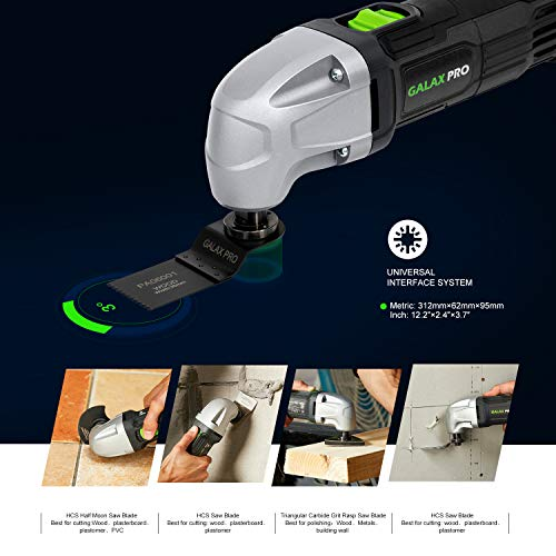 GALAX PRO 22000 OPM 1.5A Oscillating Multi Tool, 3 Degree Oscillating Angle with 3 Pieces Saw Blades, 1 Piece Semi Circle Blade Sanding Plate, 6 Pieces Sanding Papers for Sanding, Grinding
