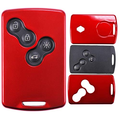 Schlüssel Karte Fernbedienung Hülle Hartschale Cover Rot für Renault Koleos Captur Grand Scenic Megane Laguna Zoe
