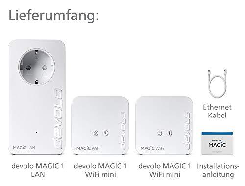 devolo Magic 1 – 1200 WiFi mini Multiroom Kit: Kompaktes Set mit 3 Powerline-Adaptern, für raumübergreifendes WLAN (1200 Mbit/s, 2x Fast-Ethernet LAN-Anschlüsse, Mesh-WLAN, G.hn)