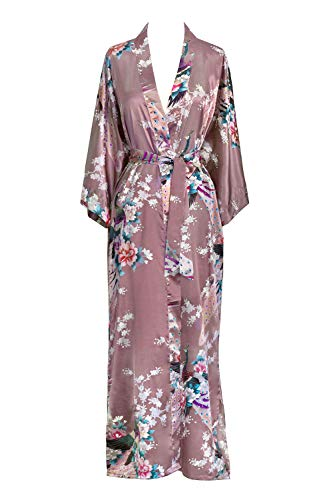 Old Shanghai Women's Kimono Long Robe - Peacock &, Purple, Size One Size. S5wh