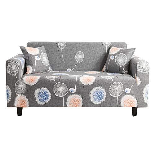 Funda Sofá 1 Plazas Diente de León Gris Impresión Universal Cubierta de Sofá Funda de Sillón Spandex Stretch Cubre Sofá Funda Furniture Protector Antideslizante Sofa Couch Cover 90-140 cm