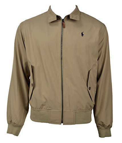 Polo Ralph Lauren Mens Lightweight Polyester Bi-Swing Full Zip Windbreaker Jacket Khaki Beige (XX-Large)