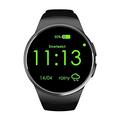 CGGA Golden/Black Remote Take Picture 240 240 Pixels Bluetooth Smart Watch Phone King-WEAR KW18 Sim&tf Card Heart Rate Smartwatch (Color : Black)