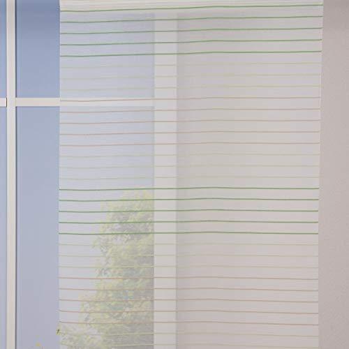 SCHÖNER LEBEN. Gardinenstoff Flächenvorhang Schiebe-Paneele Meterware Malados Querstreifen weiß grün braun 60cm Breite