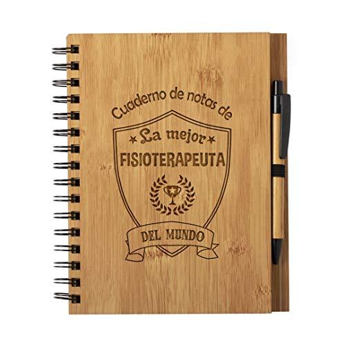 Cuaderno de Notas la Mejor Fisioterapeuta del Mundo - Libreta de Madera Natural con Boligrafo Regalo Original Tamaño A5