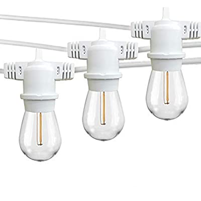 FMART 25ft LED Outdoor String Lights, Waterproof 8 E26 Sockets and 9 S14 Edison Vintage Bulbs(1 Spare), ETL Approved, 2700K Warm White LED Light String for Patio Wedding (White)