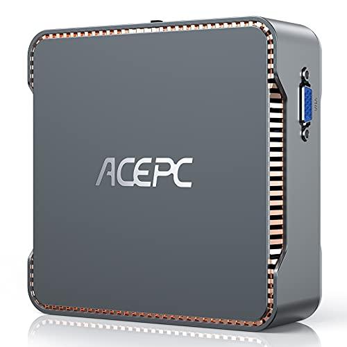 ACEPC GK3V Mini PC,Intel Celeron J4125,8GB RAM+128GB ROM,Windows 10 Pro(64-bit),Dual WiFi 2.4 5G, Bluetooth 4.2,4K HD,2 HDMI+1 VGA Port Mini Computer Desktop For Light Office