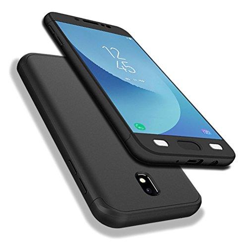 AIsoar - Funda para Samsung Galaxy J7 2017, Galaxy J7 2017, cobertura de 360 grados, Full Body Protección 3 en 1, diseño fino, antigolpes y protección completa para Samsung Galaxy J7 2017 J730 Negro M