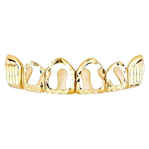 Grillz Gold Diamond Cut One Size fits All - Hollow Top