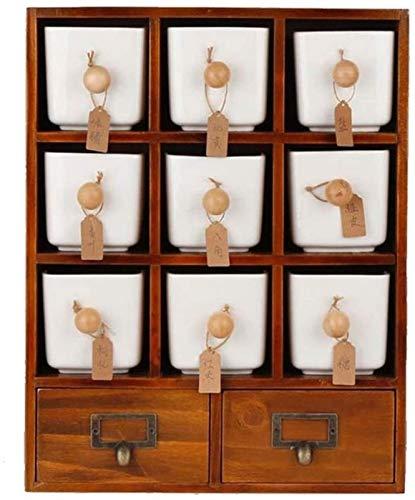 kitchen WDX - Juego de 9 tarros de cerámica para especias con cajones de madera para almacenamiento o salero y azúcar, botellas de aceite de regalo (color: blanco), color: blanco