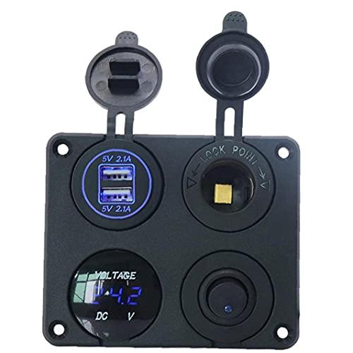 FeelMeet Interruptor Cargador de Coche Grupo 4-en-1 USB de Doble Interruptor de la Toma LED voltímetro Palanca basculante para remolques de Camiones RV Marina del Barco