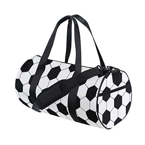 ZOMOY Sporttasche,Fliesen Muster Schwarz weiße Hexagon Fußball geometrische abstrakte Design Fußball Linie,Neue Bedruckte Eimer Sporttasche Fitness Taschen Reisetasche Gepäck Leinwand Handtasche