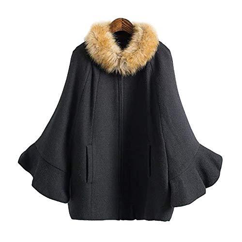 LIULIFE Herbst Winter Damen Cape Poncho Lässiger Langärmeliger Mantel Mit Fellkragen-Schalmantel,Black-OneSize