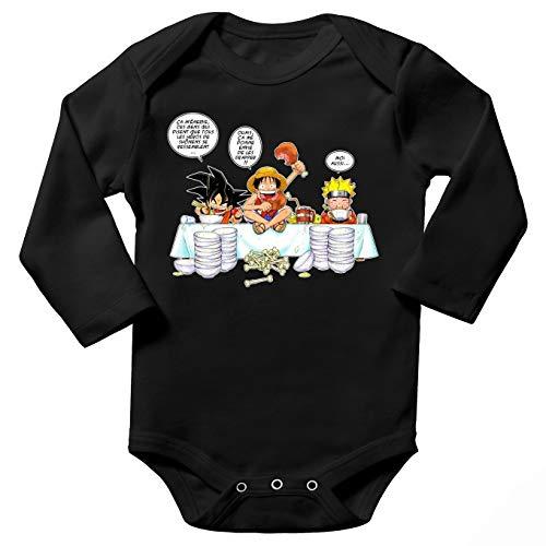 Body bébé Manches Longues Noir Parodie DBZ, One Piece et Naruto - Sangoku, Naruto et Luffy - La Recette d'un Bon Manga :(Body bébé de qualité supérieure de Taille 6 Mois - imprimé en France)