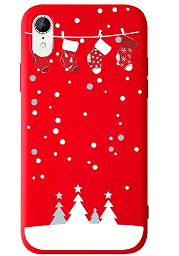 BLLQ iPhone XR Cover Case,Christmas Design Cute Soft Silicone Slim Fit Protect Case for iPhoneXR 6.1' [XR Red]