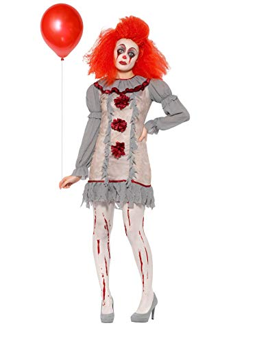 Smiffys Clown Lady Costume Disfraz de payaso vintage, color gris y rojo, M-UK Size 12-14 (47564M)