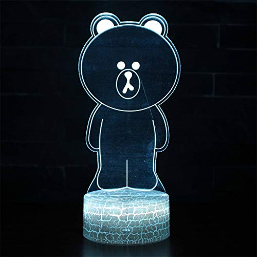Ours brun 3D Light Illusion/LED Night Light, 7 Décoloration, Touch/Télécommande, Chambre bureau décoration intérieure, cadeaux pour les enfants, lumières de sculpture d'art et par câble USB