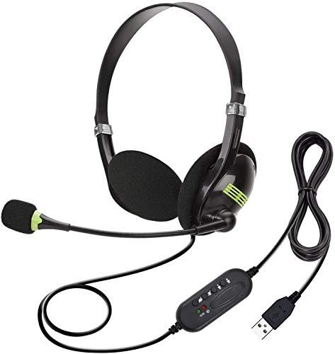 USB-Headset mit Mikrofon und Geräuschunterdrückung und Audio-Steuerung, USB-PC-Kopfhörer, super leicht und bequem für Geschäftskonferenzen, Telefongespräche, Online-Unterricht, Skype etc. (Black)