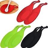 6 Pezzi Porta Cucchiaio Cucina,multiuso cucchiaio in silicone colorato,supporto resistente al calore,per barbecue spazzola resto