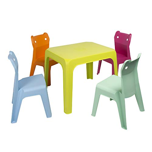 RESOL Set Jan Cat Mesa Infantil con Sillas | 4 Sillas Niños...
