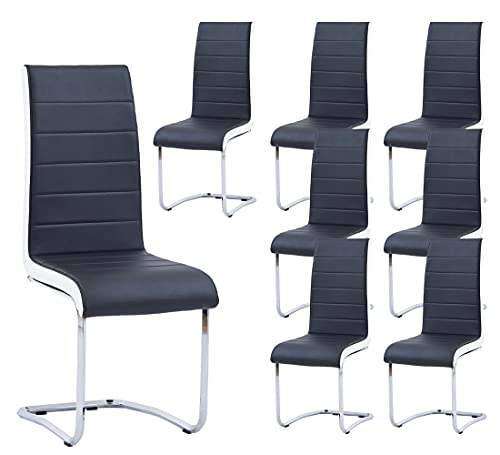 Waiting Room Chairs Set of 8,WISOICE Modern Guest Office Chairs PU Leather Sled Conference Room Reception Chair - Black