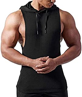 COTTVALLEY Gym Outfits Items Cotton Materials Sleeveless Hood Tshirt for Men