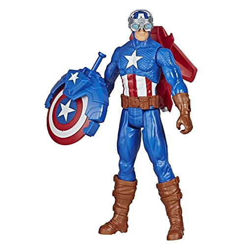 Avengers Marvel Titan Hero Series Blast Gear Captain America, 12-Inch Toy, with Launcher, 2 Accessories and Projectile, Ages 4 and Up