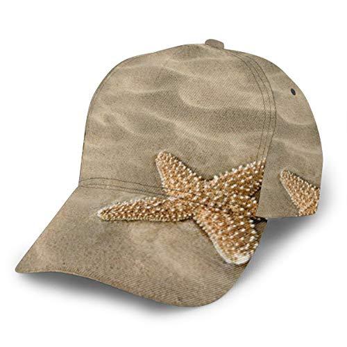 Dreamfy Tropics Realistic Beach Sand Starfish Unisex Baseball Cap for Men Women Boys Girls Adjustable Plain Hat 3D Print Sun Hats for Sport Golf Sunbonnet Outdoor