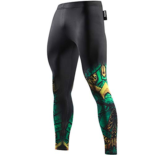 NESSFIT Superhero Herren Kompressions-Leggings Workout Base Layer Fitness Thermo Hose Laufen Lange Tights Gr. M, Aquaman Green - Hose