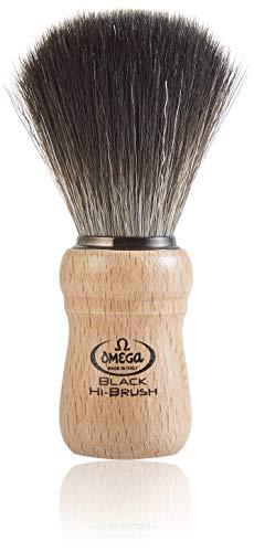 """Omega 0196228 - Pennello da barba in fibra""""Black Hi-Brush"""""""