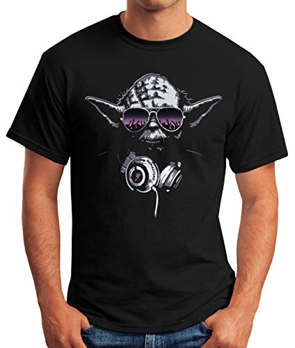 MoonWorks Herren T-Shirt - Deejay DJ Yoda Remastered schwarz L