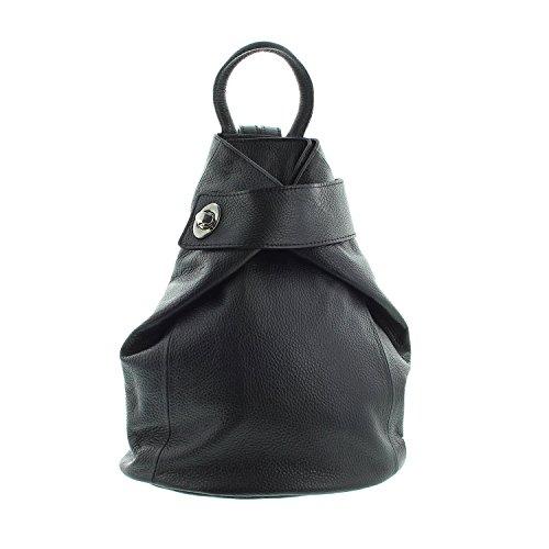 IO.IO.MIO Leichter echt Leder Damen Rucksack Tagesrucksack Frauen Lederrucksack CityRucksack Daypack schwarz, 28x31x13 cm (B x H x T)