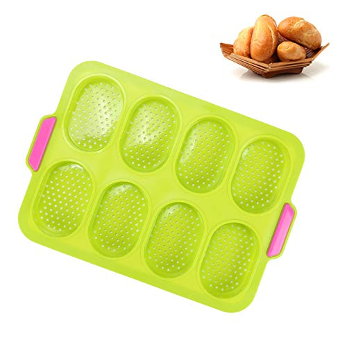 ManLee Madeleines Silicone Baking Mould Mini Loaf Pan with Free Oil Brush Silicone Mini Baguette Baking Tray 13.5 x 9.5 Inches Bread Crisping Tray Loaf Baking Mould Breadstick Bread Rolls Molds